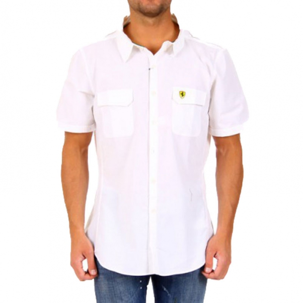 932da05ebafb7e9 Летняя белая мужская рубашка Ferrari с коротким рукавом купить