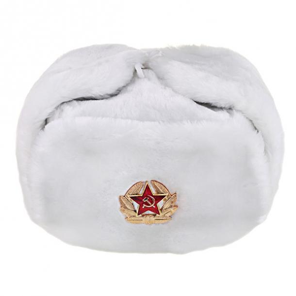 Шапка ушанка белая со звездой Размер  250х220х230 мм  Материал  текстиль 7aa3ec4f3dc79