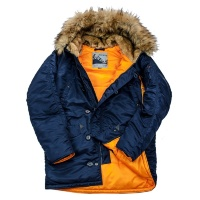 Куртка аляска мужская с натуральным мехом Husky Nord Denali (rep.blue/orange)